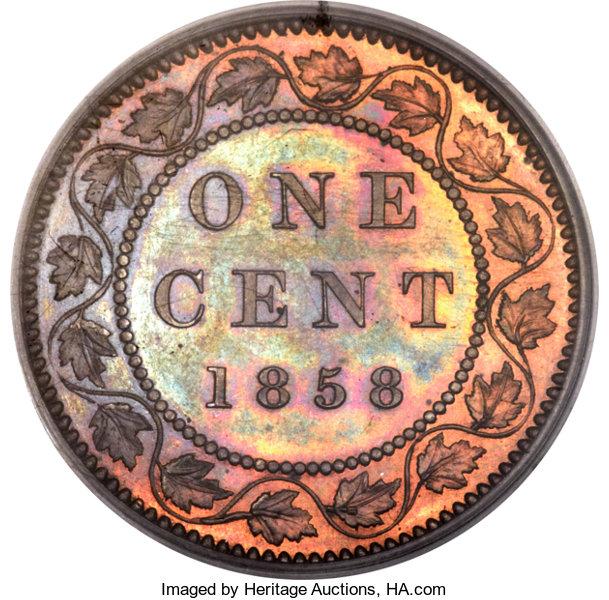 1858 Canada specimen cent reverse