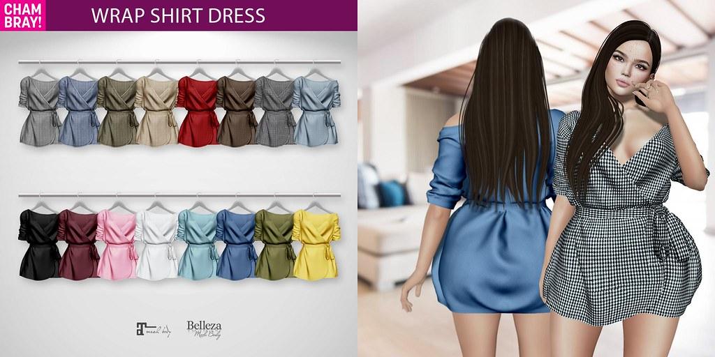 !Chambray Wrap Shirt Dress