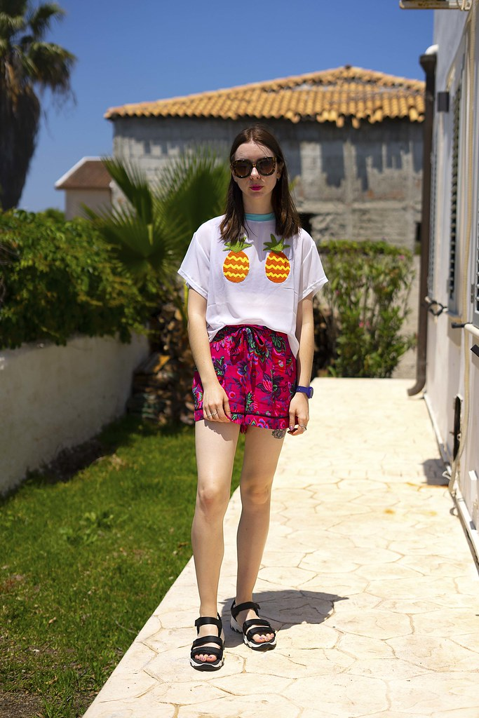 Pineapple Lazy Oaf Sheer Tshirt Pink Topshop Shorts and Sketchers sandals