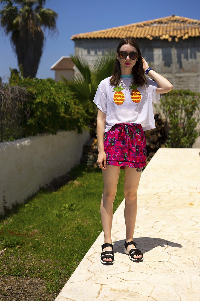 Pineapple Lazy Oaf Sheer Tshirt Pink Topshop Shorts and Sketchers sandals 2