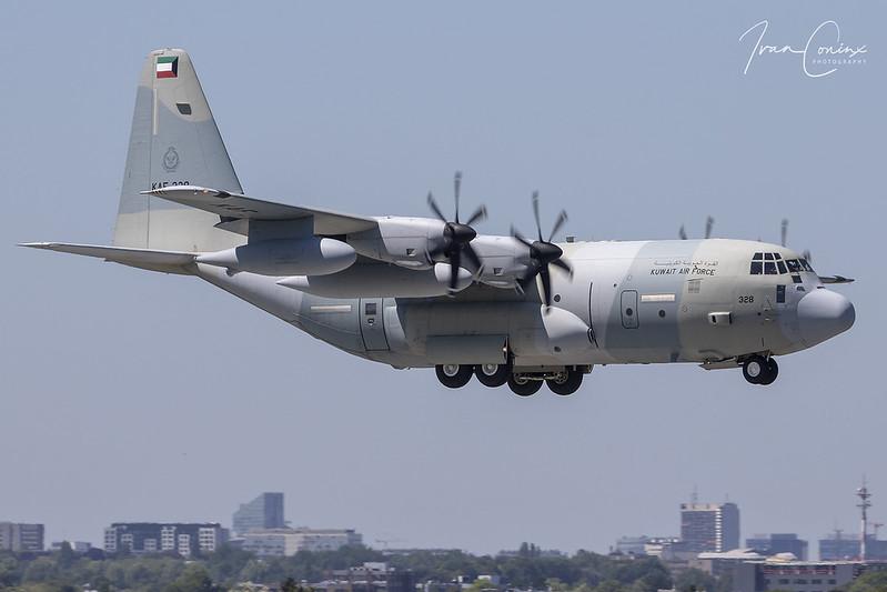 Lockheed Martin KC-130J Hercules – Kuwait-Air Force – KAF328 – Brussels Airport (BRU EBBR) – 2019 07 04 – Landing RWY 01 – 01 – Copyright © 2019 Ivan Coninx