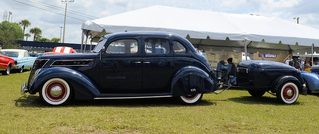 37 FORD 4 DOOR SEDAN WITH TRAILER