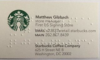 Starbucks business card in English and Braille
