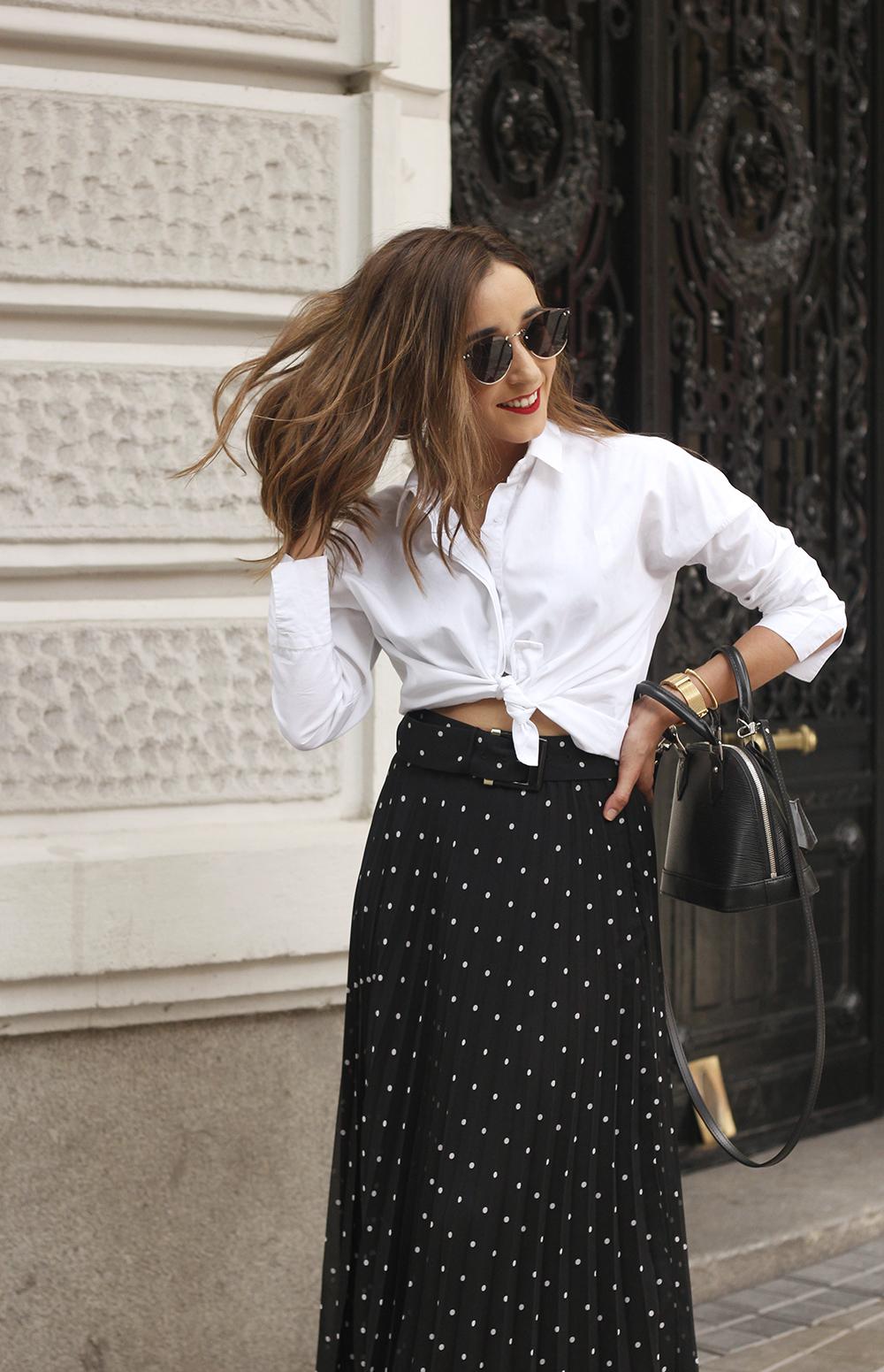 dots midi skirt white skirt louis vuitton black bag street style outfit 201911