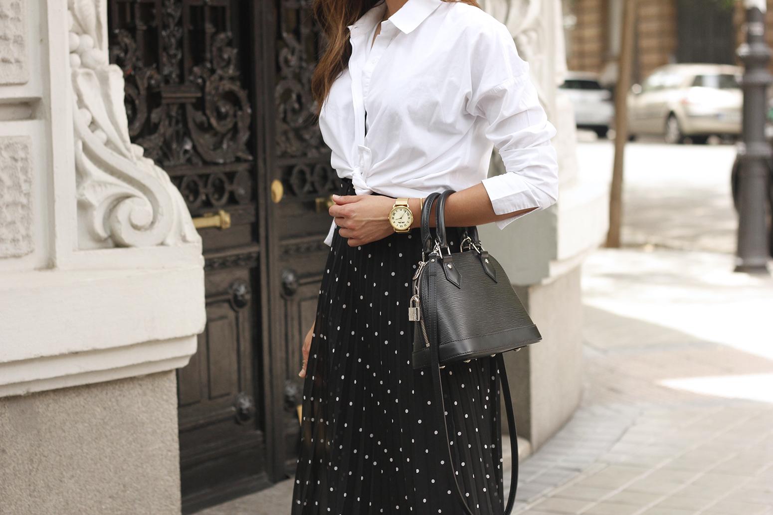 dots midi skirt white skirt louis vuitton black bag street style outfit 201914