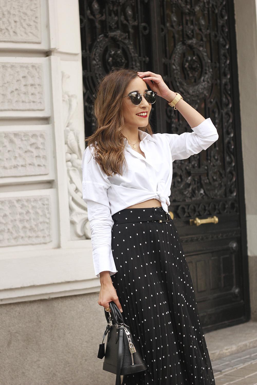 dots midi skirt white skirt louis vuitton black bag street style outfit 201913