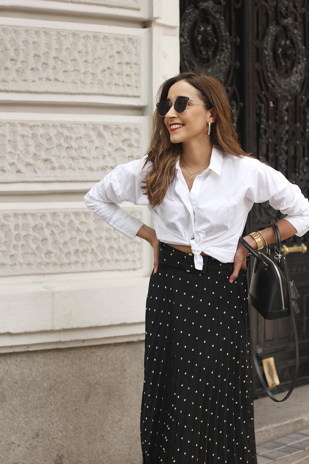 dots midi skirt white skirt louis vuitton black bag street style outfit 201910