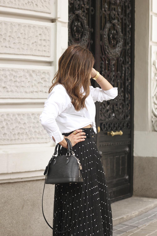 dots midi skirt white skirt louis vuitton black bag street style outfit 20198