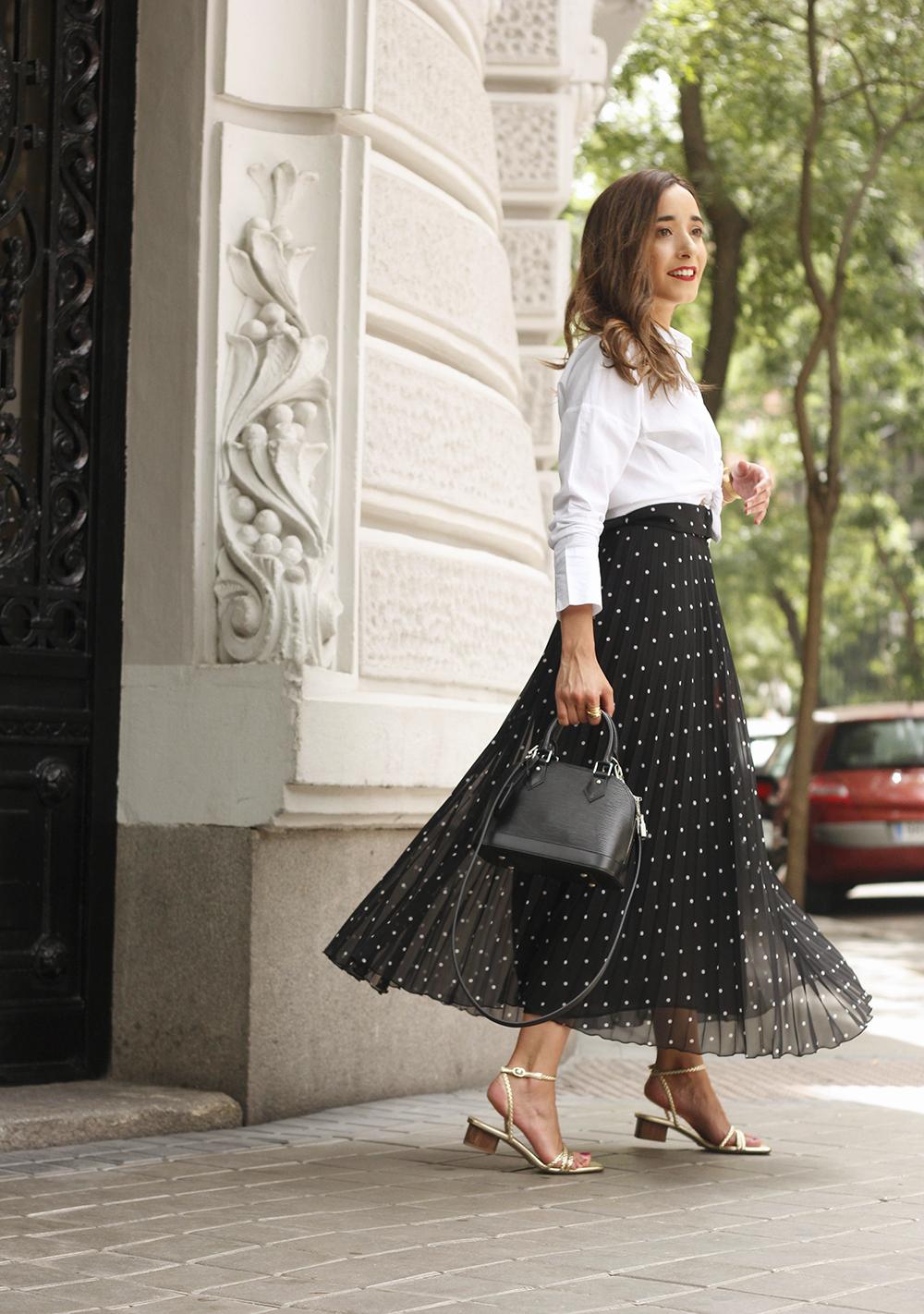 dots midi skirt white skirt louis vuitton black bag street style outfit 20196