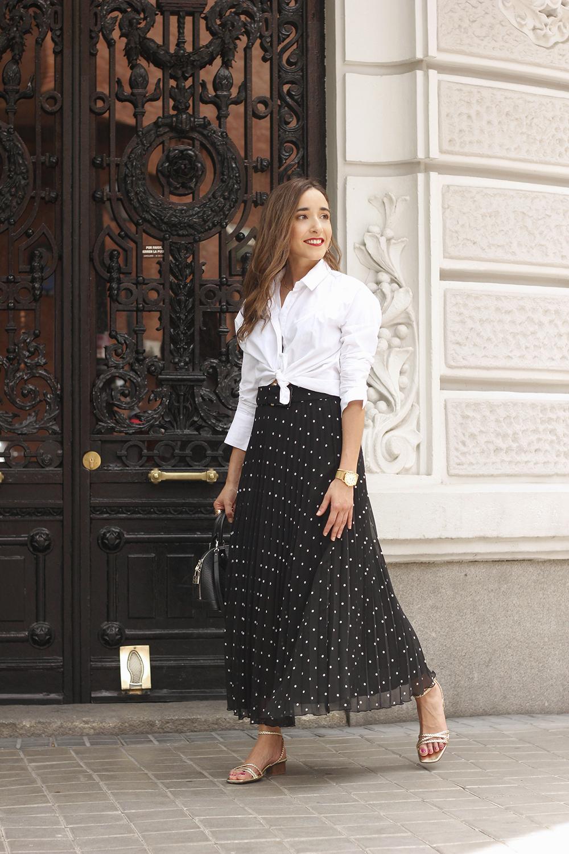 dots midi skirt white skirt louis vuitton black bag street style outfit 20194