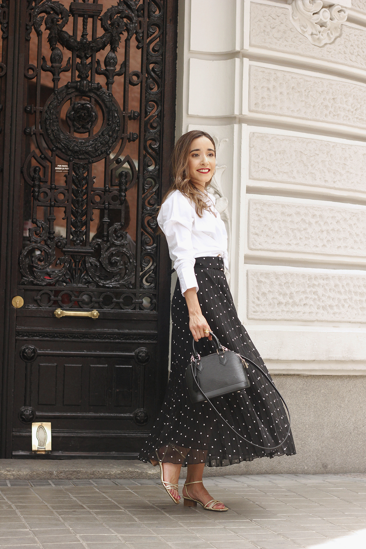 dots midi skirt white skirt louis vuitton black bag street style outfit 20192