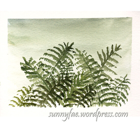 watercolour painting of ferns