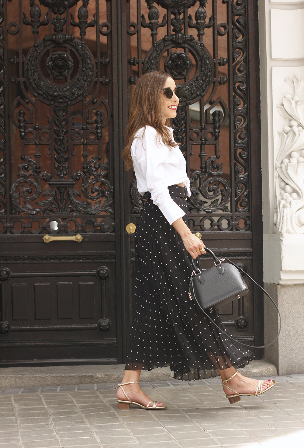 dots midi skirt white skirt louis vuitton black bag street style outfit 201915