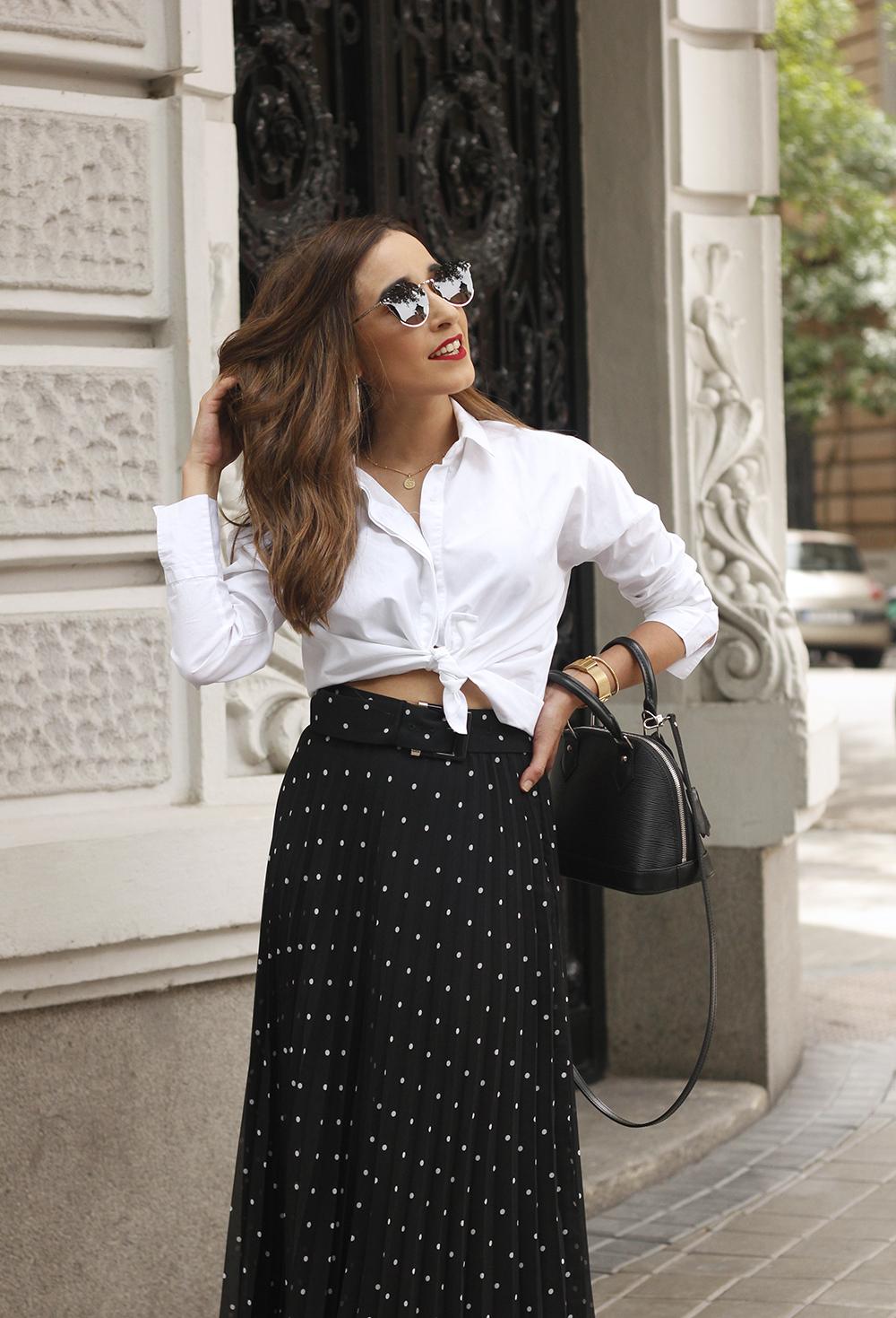 dots midi skirt white skirt louis vuitton black bag street style outfit 201912