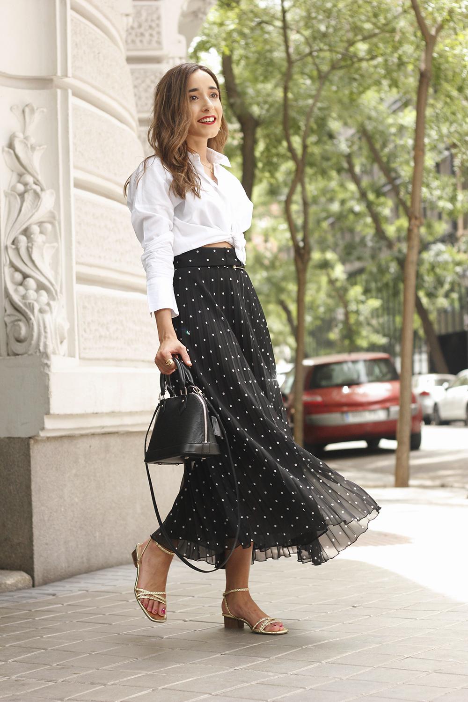dots midi skirt white skirt louis vuitton black bag street style outfit 20197