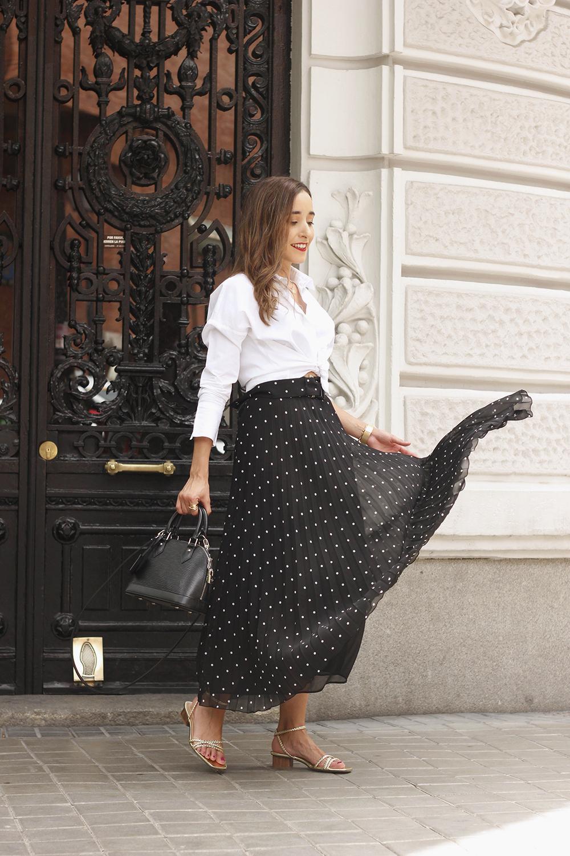 dots midi skirt white skirt louis vuitton black bag street style outfit 20193