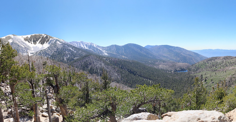 Panorama view northwest from the summit of Lake Peak, with Dry Lake down below