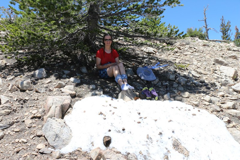 Vicki's rest spot on the northern slope of Ten Thousand Foot Ridge (Peak 10094)