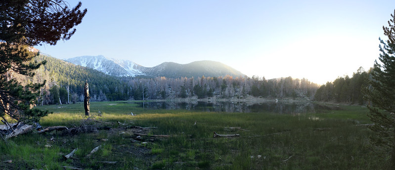 Evening panorama shot of Dry Lake with plenty of glare from the setting sun