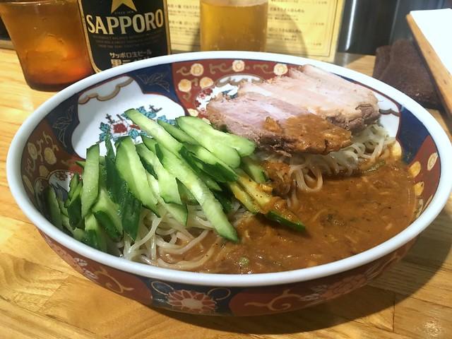 Cold ramen topped with sliced cucumber and char siu from Shinamen Hashigo @ Tameike Sanno