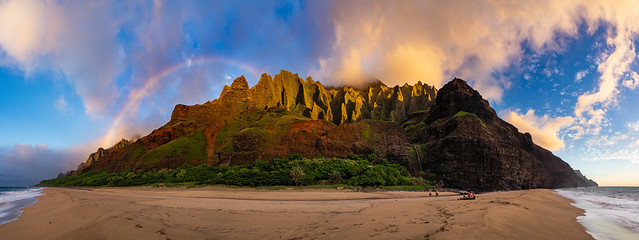 A Rainbow Sunset at Kalalau Beach