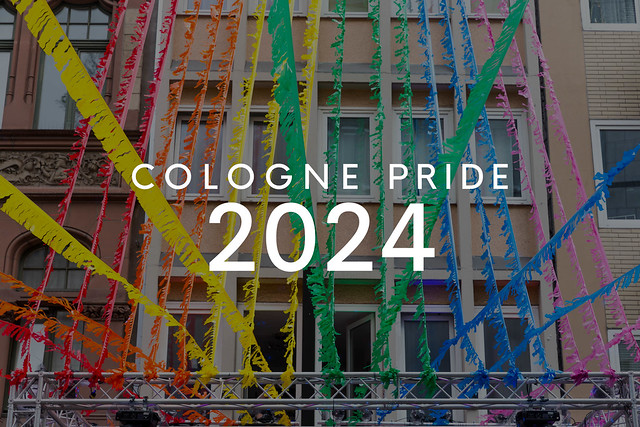 Colorful street decorations at Christopher Street Day and Cologne Pride 2024