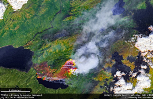Wildfire in the Qeqqata Kommunia, Greenland - July 14th, 2019