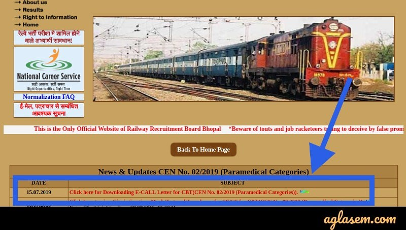 RRB Paramedical Admit Card 2019 Released; Link to Download Here