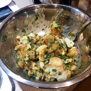 Smashed Potato Salad with Herb Vinaigrette