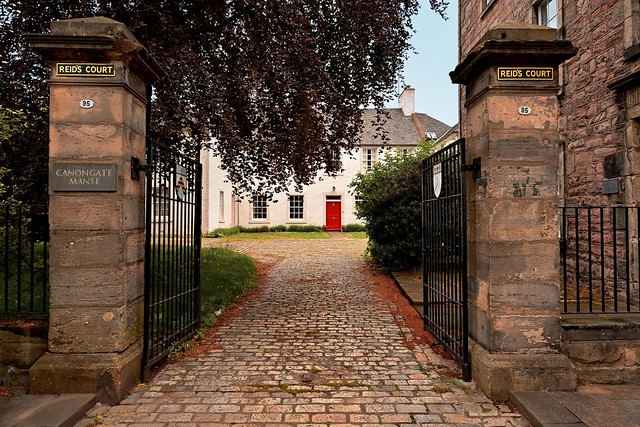 A view of Canongate Manse located in Reids Court along the Royal Mile in Edinburgh, Scotland.