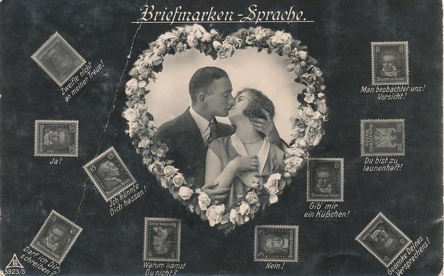 Briefmarken-Sprache  Remscheid 1928 steht auf der Rückseite