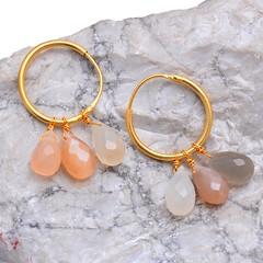 Peach Grey Rainbow Moonstone Earring