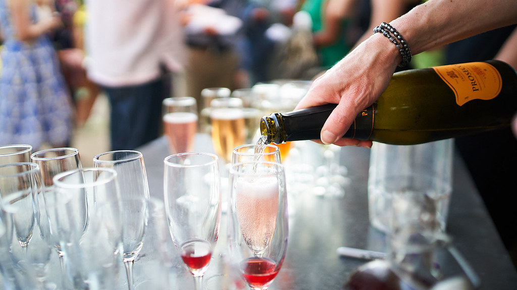 Pouring a glass if sparking wine