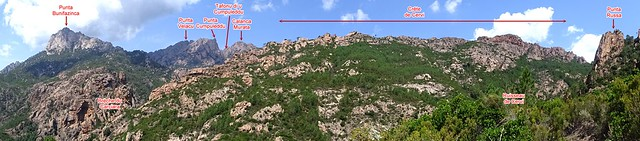 Panoramique annoté  Punta Bunifazinca - Punta Russa