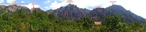 Panoramique annoté  Crête de Cervi -  Capellu