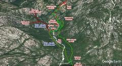 Photo 3D Google Earth du secteur Carciara - Paliri avec les chemins du Carciara (HR21) et de Paliri (HR31) en rouge et le trajet aller - retour en vert fluo de l'operata du 14/07/2019