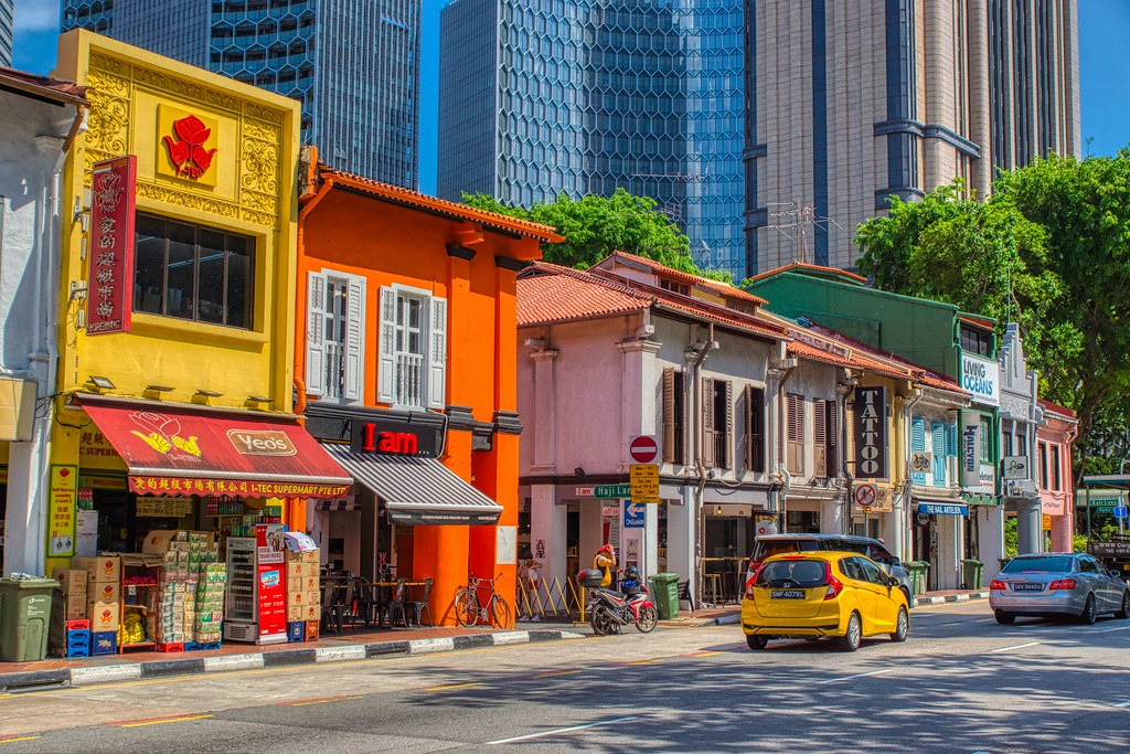 Vibrant traditional shop houses on North Bridge Road in Singapore