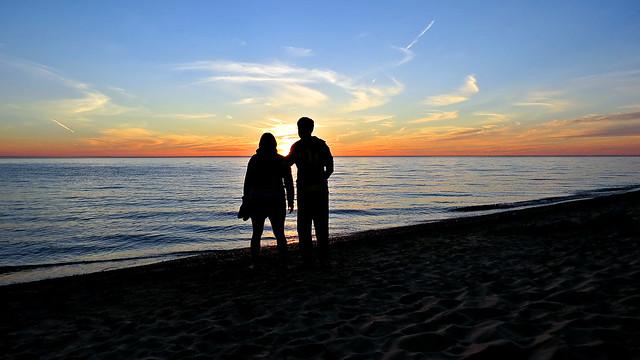 Couple at sunset, Pierport, Michigan