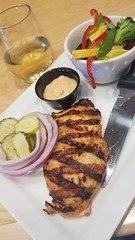 """Bunnless chicken sammie with """"crossroads sauce"""":thinking_face: and veggies @ The Summit.  Thornton, CO."""