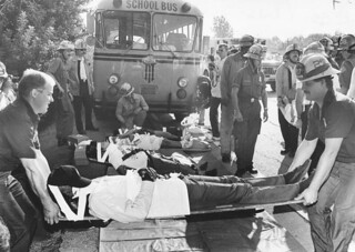 Crown School Bus rear ended by 6 ton meat truck on Ventura Freeway in North Hollywood  sends 27 children and 3 adults to 5 area hospitals in 1989