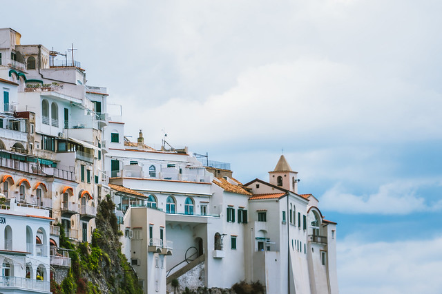 Beautiful view of seaside city Amalfi in the province of Salerno, the region of Campania, Amalfi Coast, Costiera Amalfitana, Italy
