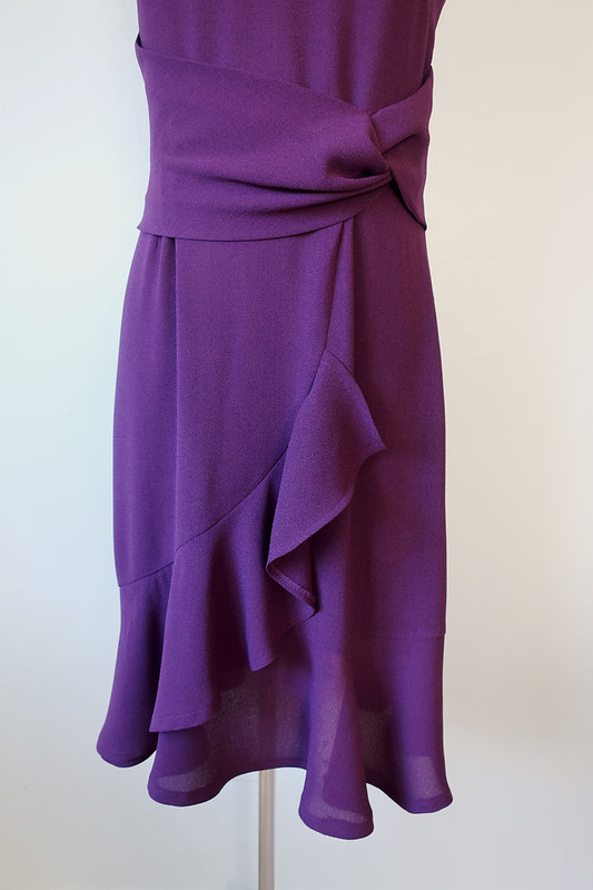 Purple dress on form ruffle