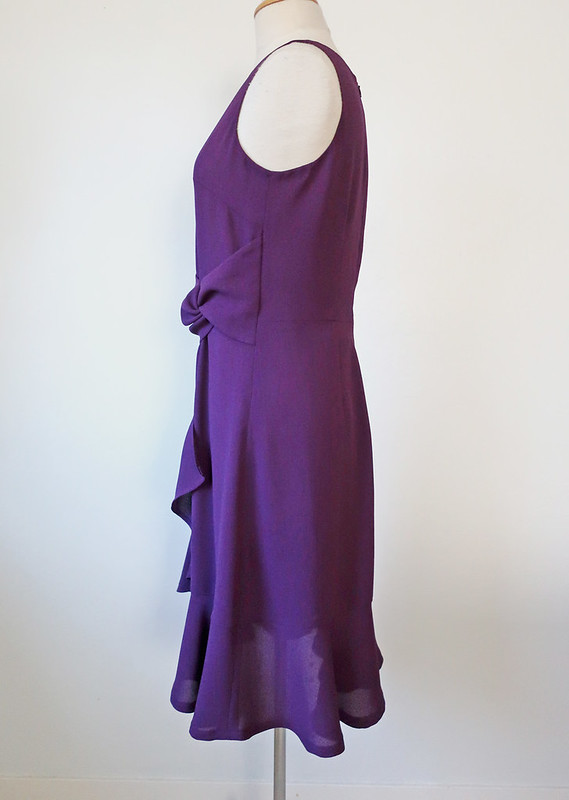 purple dress side view on form
