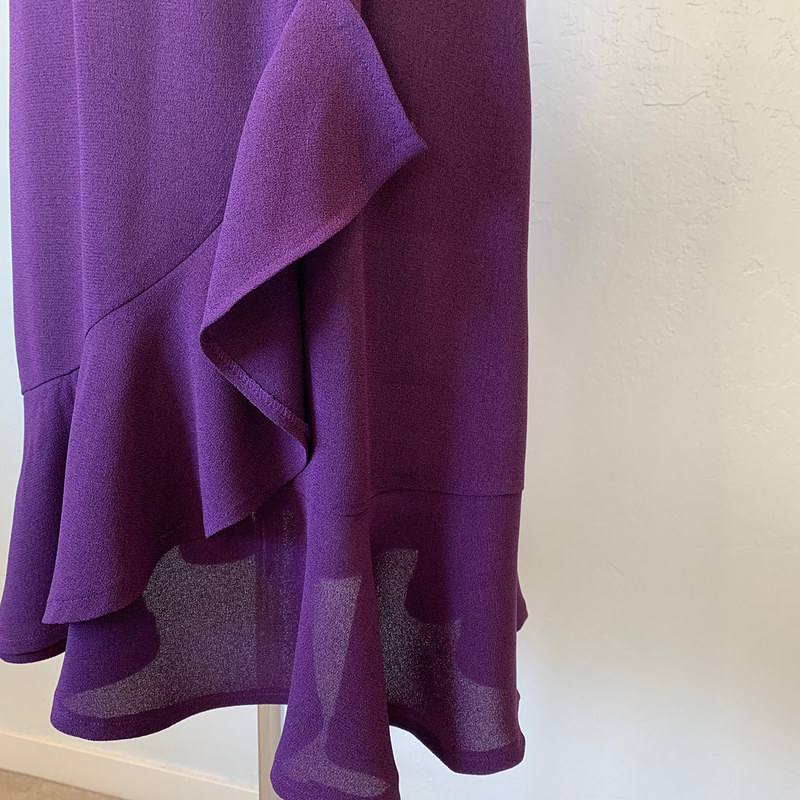 purple dress hem ruffle