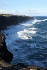 wave battered cliffs