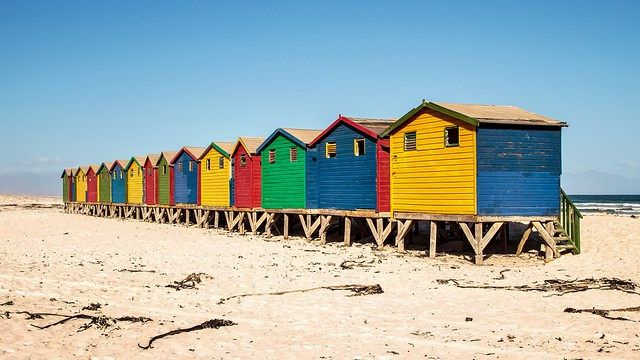 The Beach Huts at Muizenberg, Cape Town, South Africa
