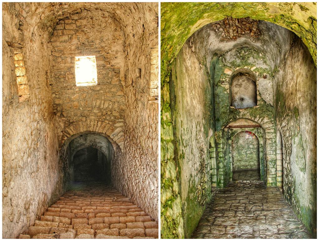 The dark and confusing interior of Porto Palermo Castle