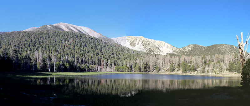 Early morning panorama over Dry Lake with San Gorgonio, Jepson, Little Charlton, and Charlton