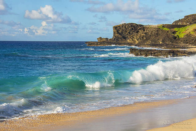 Pacific Ocean View from Sandy Beach - Oahu, Hawaii