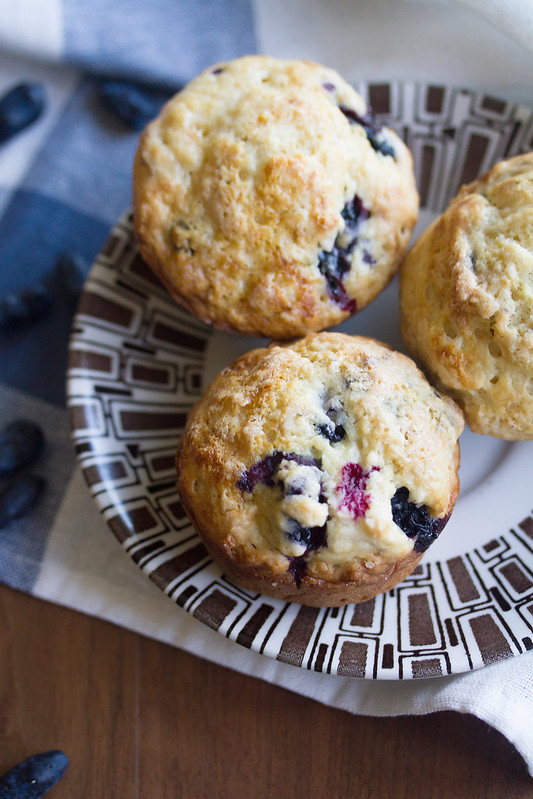 Sour Cream Haskap Muffins on a Plate